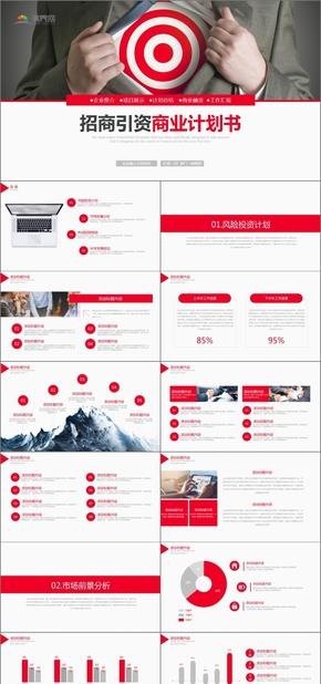 紅色商務風項目招商引資商業計劃書PPT模版