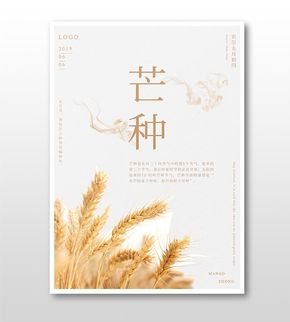 简约清新文艺风芒种小麦海报
