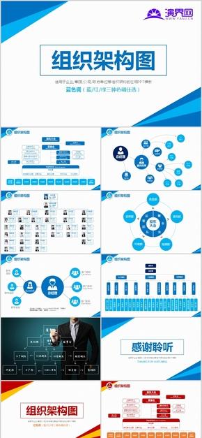 企业组织架构图PPT模板集团人事机构组织框架图金字塔结构层级图 [08]