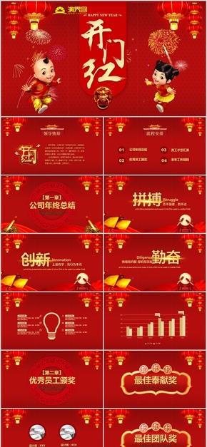 企业开门红庆典成立庆典喜庆红色企业介绍总结汇报(35