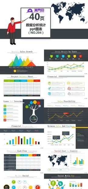 40204-40頁商務通用分析統計ppt圖表集模板