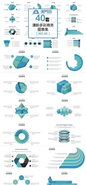 40006-40套小清新配色商務圖表40套PPT圖表模板
