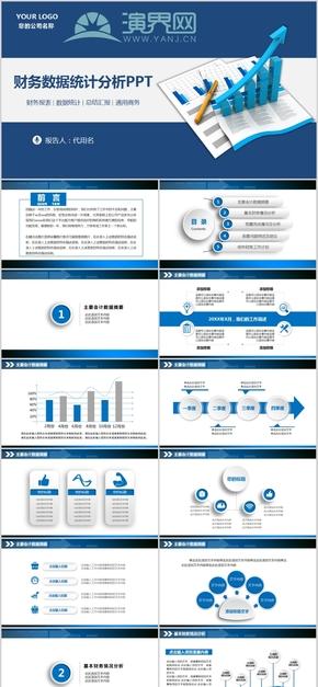 财务分析报告ppt模板报表统计图表数据分析工作总结计划金融1-1