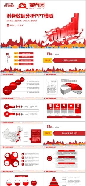 财务分析报告ppt模板报表统计图表数据分析工作总结计划金融1-3