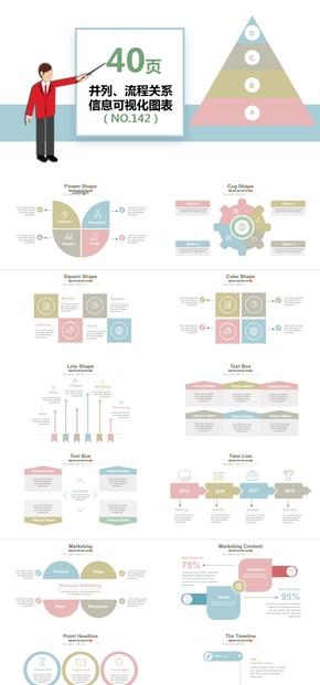 40142-40頁并列流程對比關系信息可視化PPT圖表