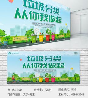 綠色環保垃圾分類展板