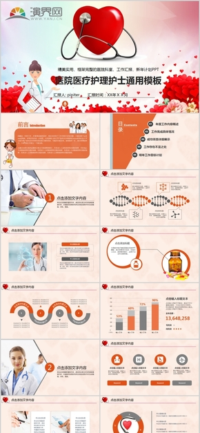 医院医生护士医疗器械工作总结计划汇报述职PPT模板