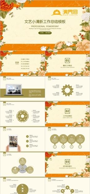 花卉小清新PPT年度總結工作總結計劃匯報