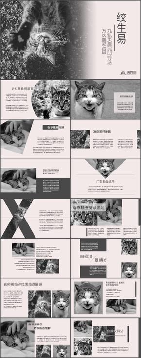 黑白杂志风扁平化多文字PPT模板
