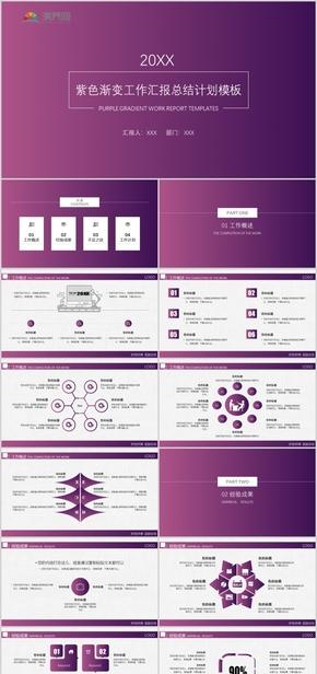 紫色渐变简约工作汇报工作总结述职报告年终总结模板