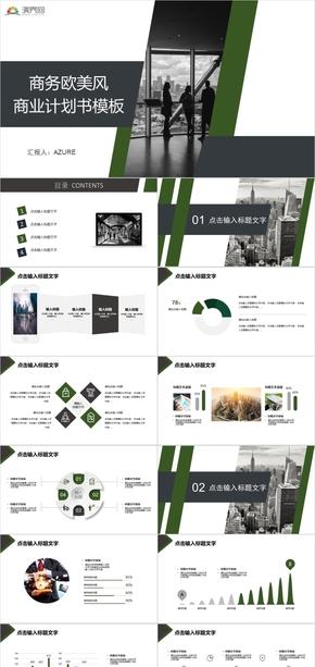 (附赠图标)商务欧美风商业计划书模板