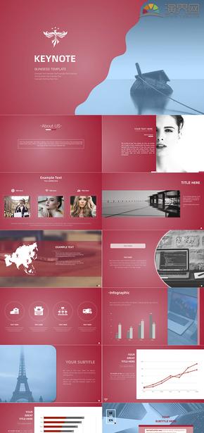 红色简约欧美风商业展示信息咨询PPT模板