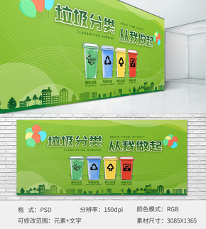 绿色环境垃圾分类环保公益主题展板