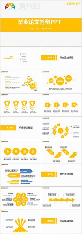 黃色簡約畢業答辯PPT模板