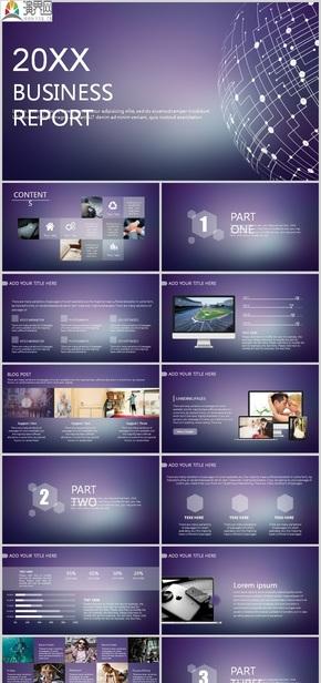 紫色iOS風格的歐美科技PPT模板