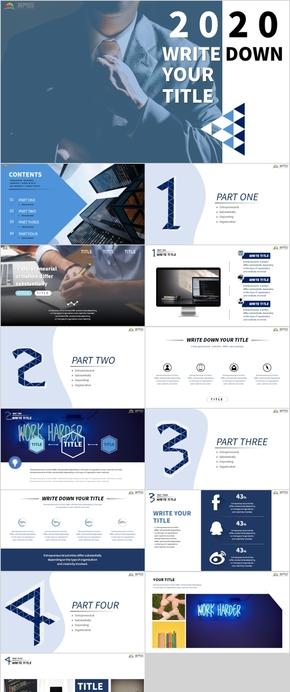 商務風藍色白工作匯報總結企業項目介紹PPT模版