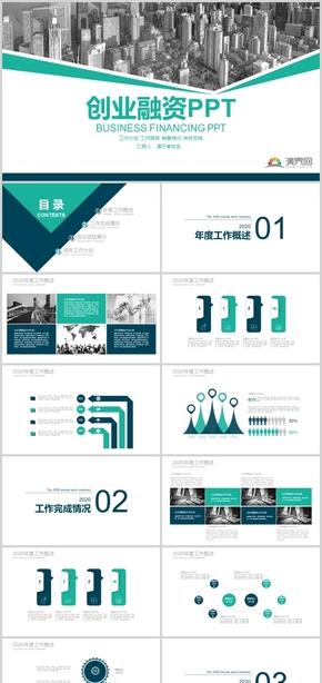 绿色商务风创业融资工作汇报PPT模板
