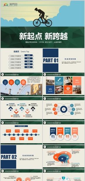 绿色新起点新跨越工作计划总结汇报PPT模板