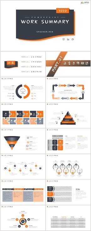 橙黑色工作匯報模板