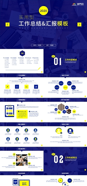 2019年度藍色黃色高端簡約企業商務年終工作匯報公司工作計劃總結PPT模板