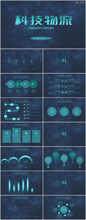 藍色商務工作匯報科技感PPT模板