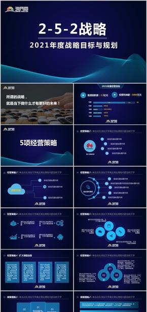 蓝色科技商务战略发展汇报PPT