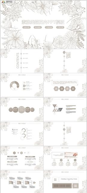 2019素雅線描花卉企業介紹年中報告計劃總結產品介紹PPT模板421
