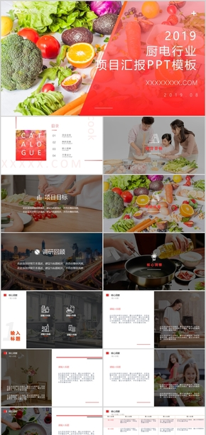 2019年紅色白色IOS風廚電行業項目匯報簡約PPT模板