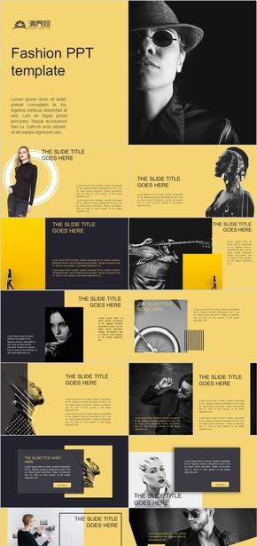 黑黃簡潔時尚PPT模板