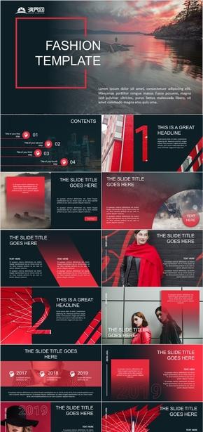 紅色歐美時尚大氣行業通用PPT模板