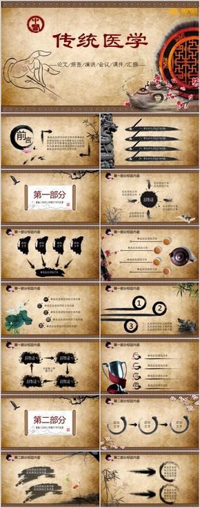 中國風傳統醫學會議通用PPT模板