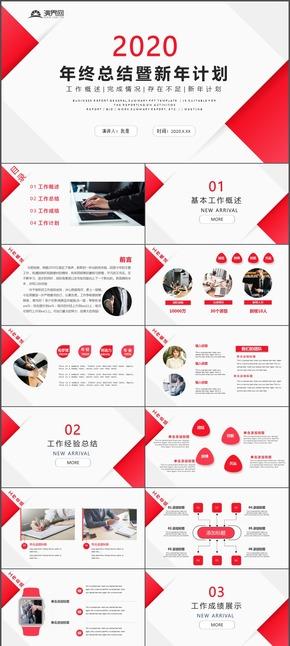 2020年商務簡約風年終總結暨新年計劃(hua)PPT模板