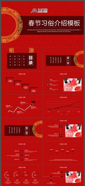 中国风春节习俗介绍PPT模板