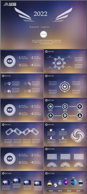 ios7风格PPT模板极致简约商务风