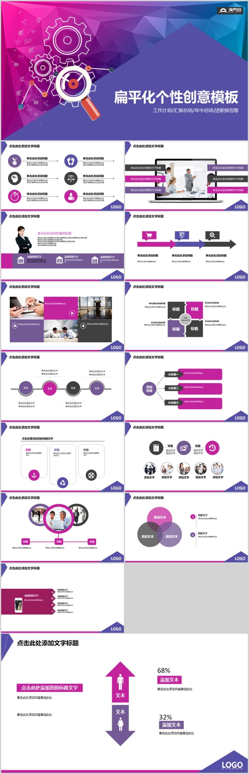 扁平化个性创意工作总结PPT模板