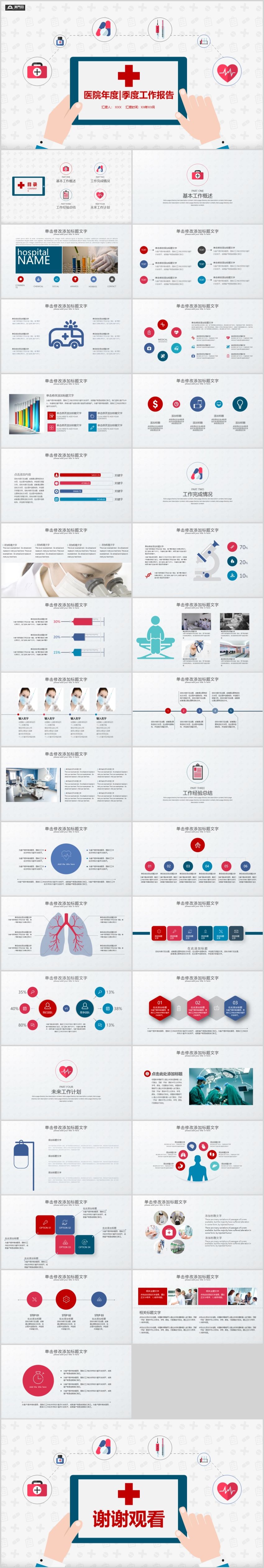扁平卡通風格醫療工作總結PPT模板