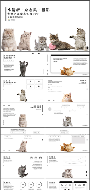 黑白小(xiao)清新雜志風攝影寵(chong)物產品發布匯報(bao)PPT模板(ban)