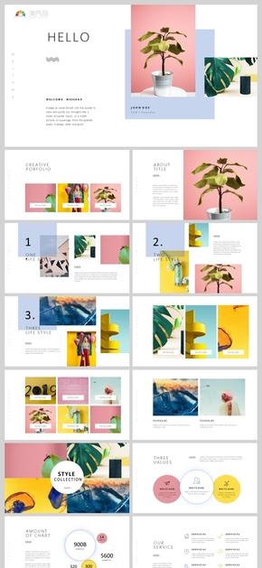 【質感】粉黃藍雜志風簡約清新通用PPT模板