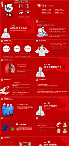 紅色醫療預防新型冠狀病毒方法PPT模板