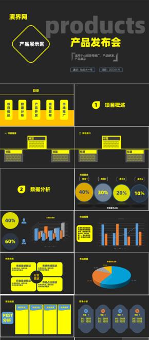 黑黃色產品研發分析匯報PPT模版
