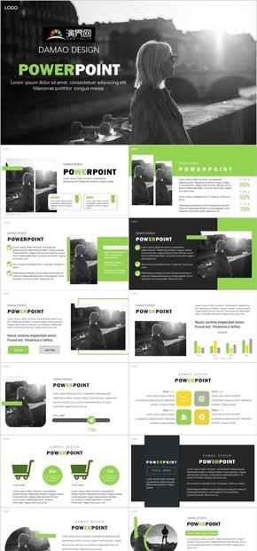 簡約商務歐美雜志風綠色PPT模板