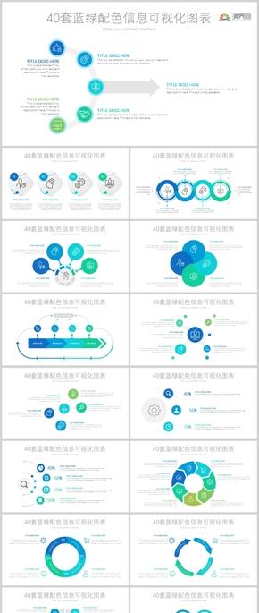 40套蓝绿配色信息可视化图表ppt模板
