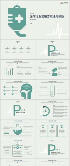 2020年綠色扁平風醫療健康醫生醫院衛生匯報總結通用PPT模版