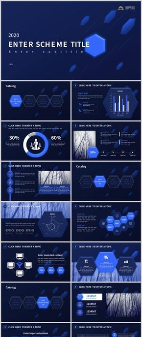 2020年藍色科技微立體商務風工作匯報總結營銷通過PPT模版