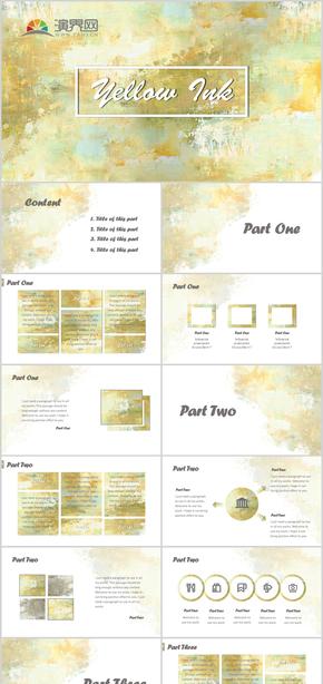 黃綠水彩藝術廣告清新模板