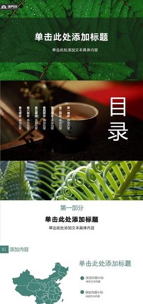 中國(guo)綠色清雅經典PPT模板