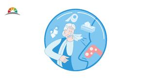 藍(lan)色(se)醫療(liao)健康感冒噴嚏矢量圖
