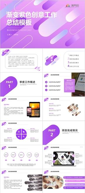 漸變紫色創意工作總結模板