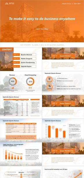 橙色简约商务风发布会财报工作汇报PPT模板
