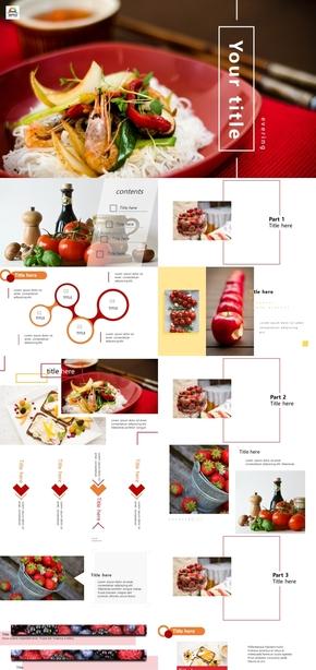 紅色雜志風飲食與健康餐飲計劃書PPT模板